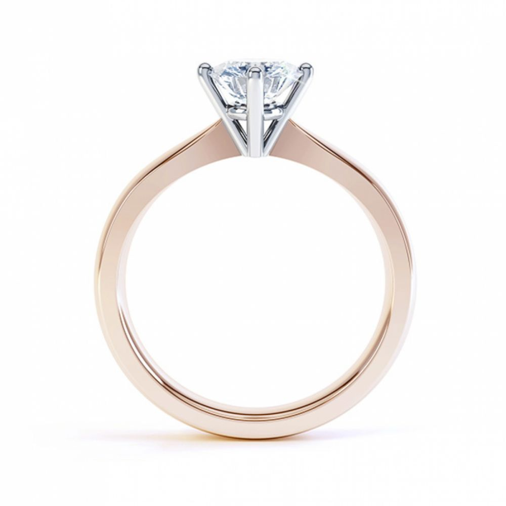 Compass Set Four Claw Round Solitaire Diamond Ring Side View Rose Gold