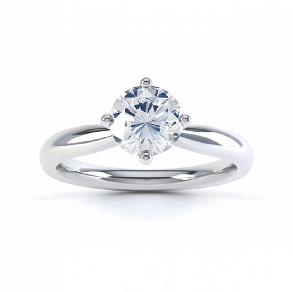 Compass Set Four Claw Round Solitaire Diamond Ring Top View White Gold