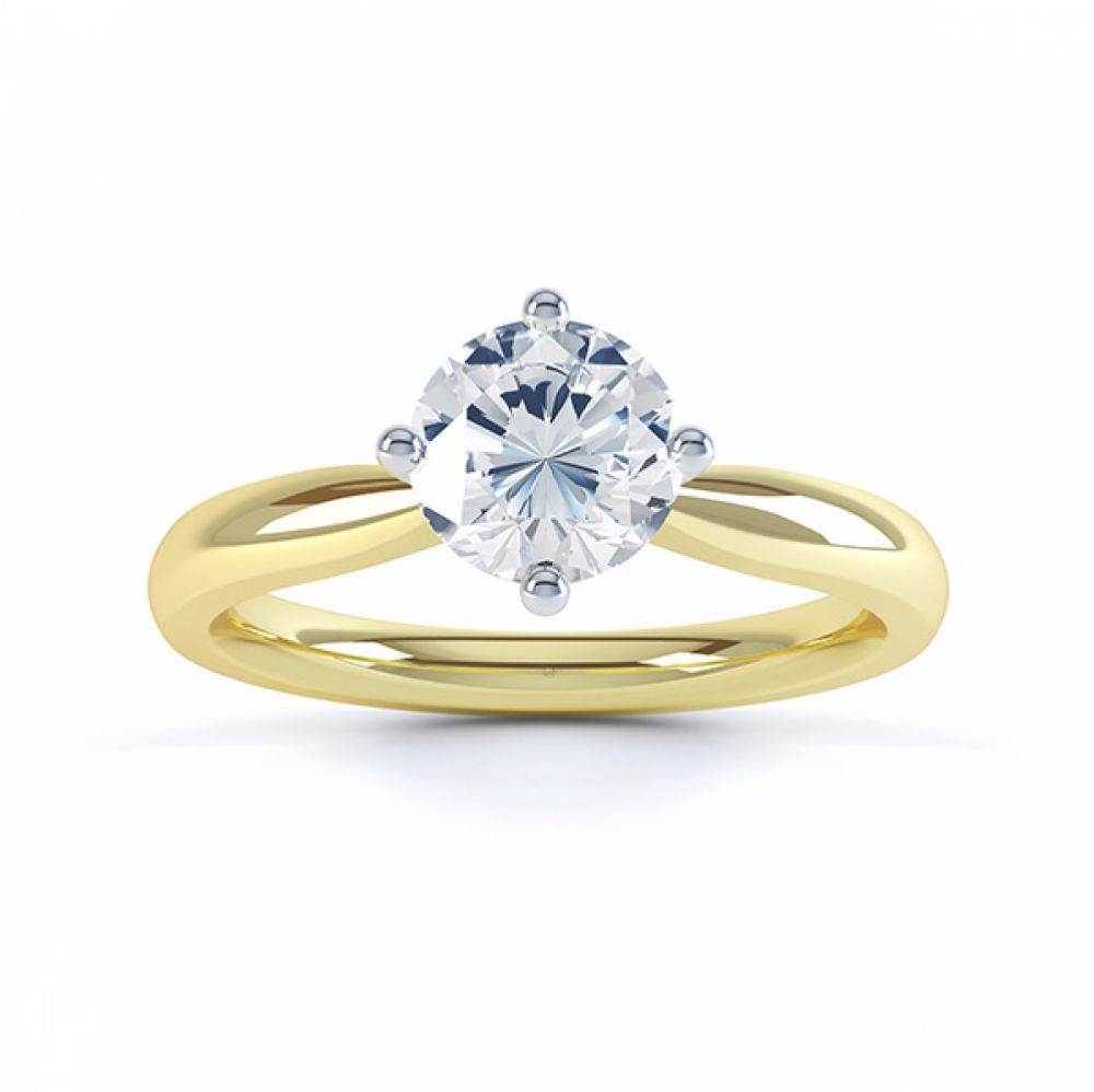 Compass Set Four Claw Round Solitaire Diamond Ring Top View Yellow Gold