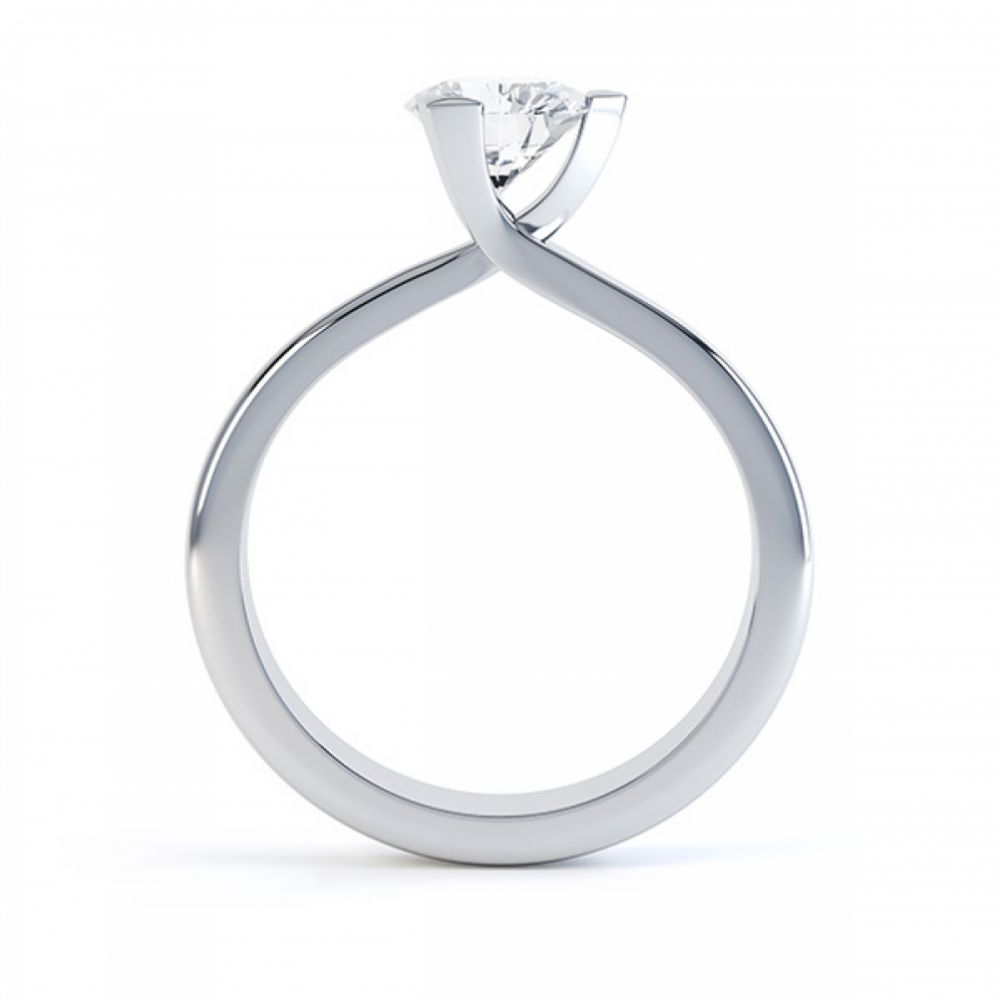 Three Claw Solitaire Diamond Engagement Ring Side View White Gold