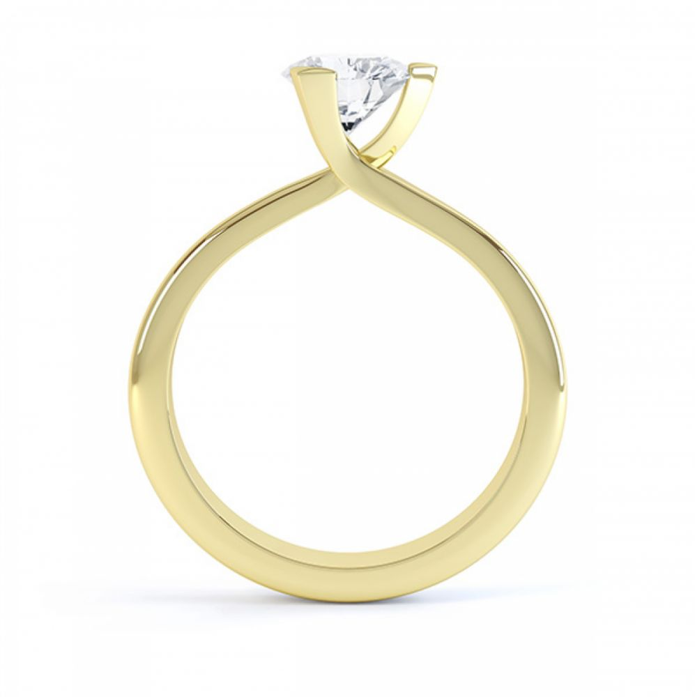 Three Claw Solitaire Diamond Engagement Ring Side View Yellow Gold