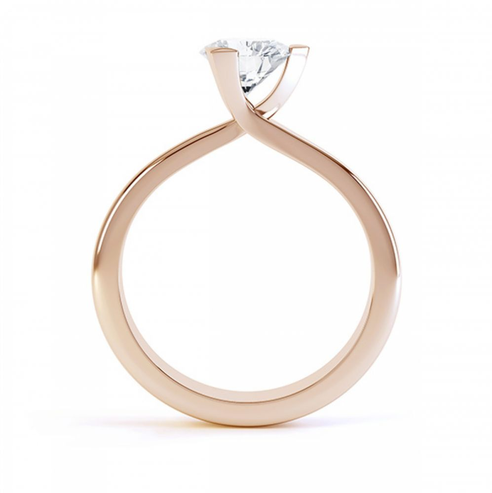 Three Claw Solitaire Diamond Engagement Ring Side View Rose Gold