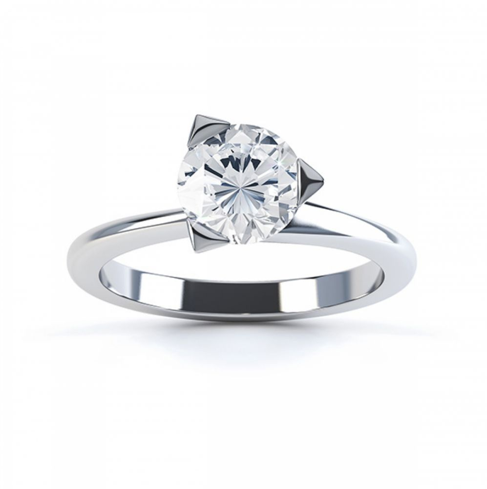 Three Claw Solitaire Diamond Engagement Ring Top View White Gold
