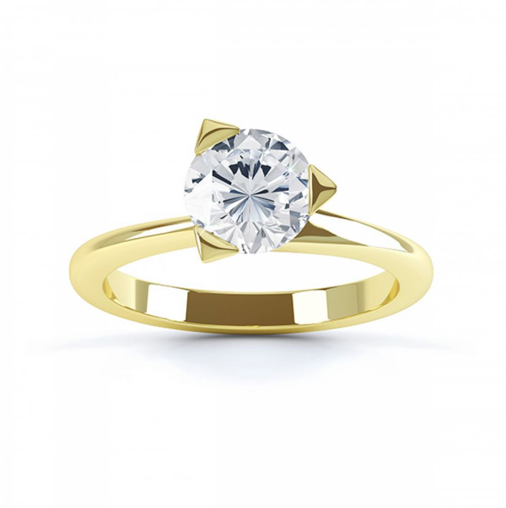 Three Claw Solitaire Diamond Engagement Ring Top View Yellow Gold