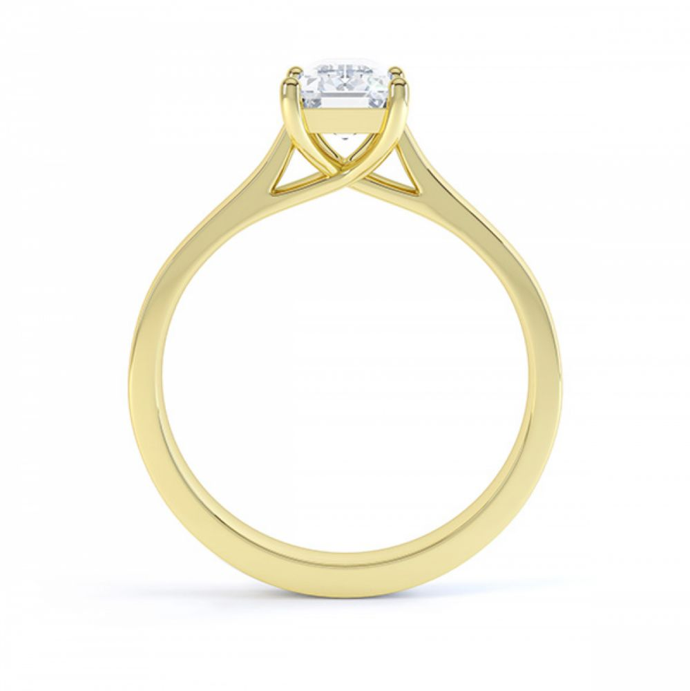 Modern 4 Claw Emerald Cut Diamond Engagement Ring side view white gold