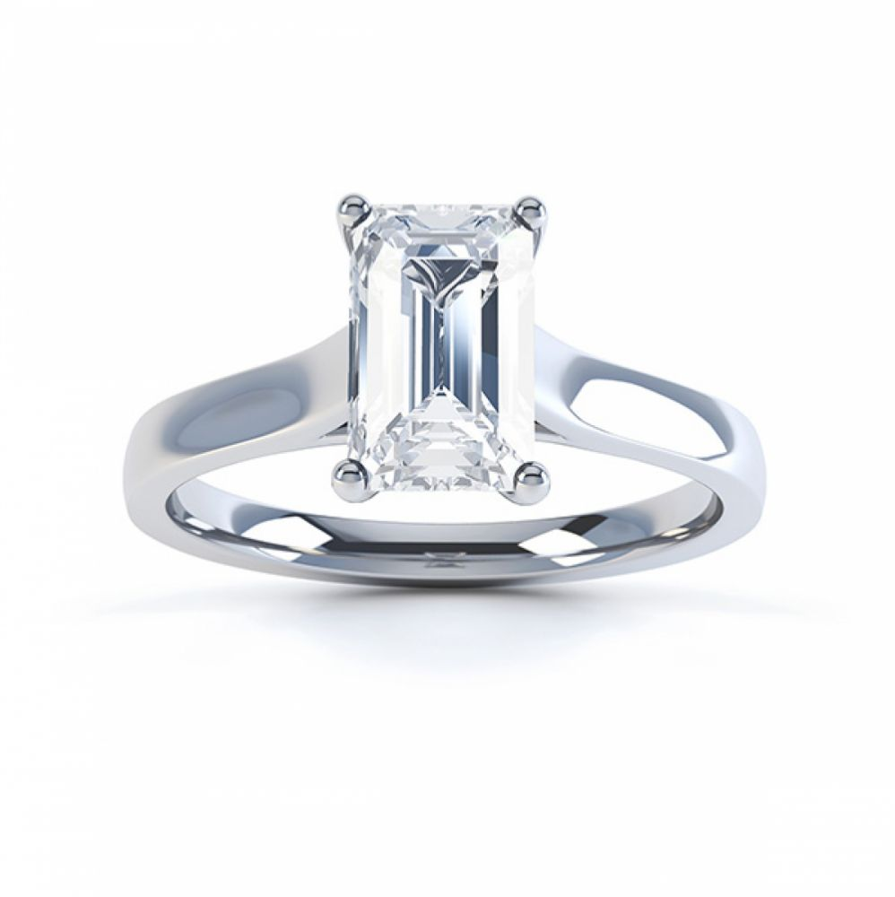 Modern 4 Claw Emerald Cut Diamond Engagement Ring top view white gold