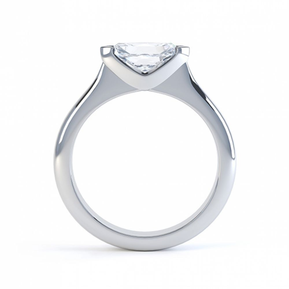 Sideways East-West Set Marquise Diamond Ring Side View White Gold
