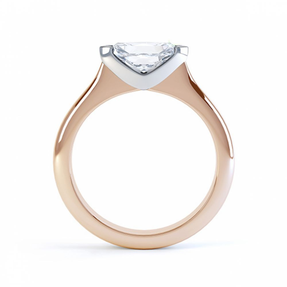 Sideways East-West Set Marquise Diamond Ring Side View Rose Gold