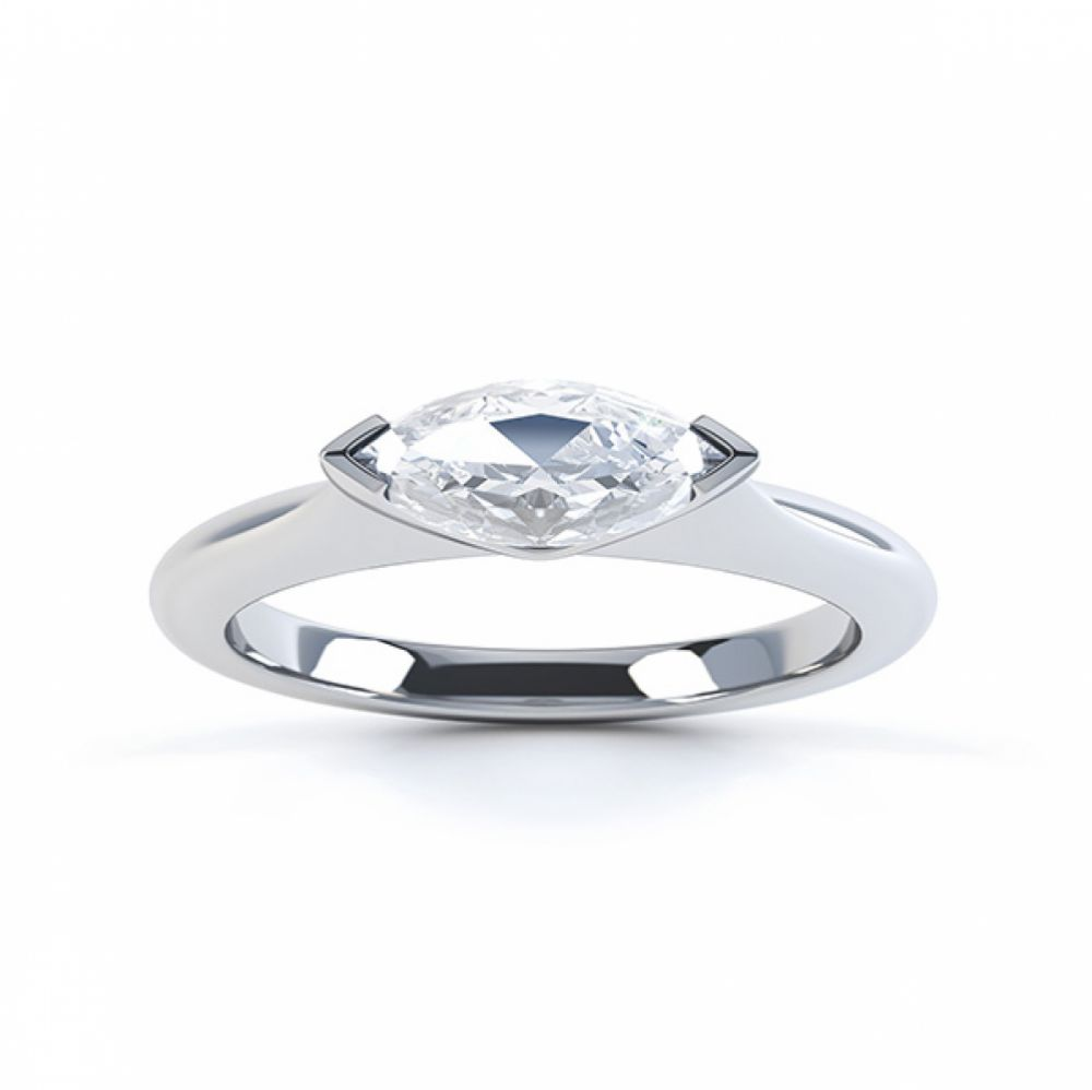 Sideways East-West Set Marquise Diamond Ring Top View Platinum