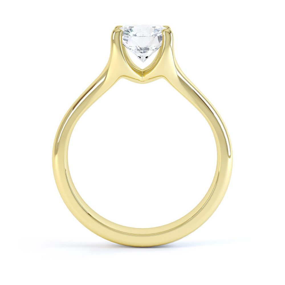 Side view of the Paris, split shoulder diamond solitaire engagement ring, yellow gold