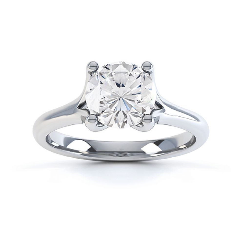 Top view of the Paris, split shoulder diamond solitaire engagement ring, white gold