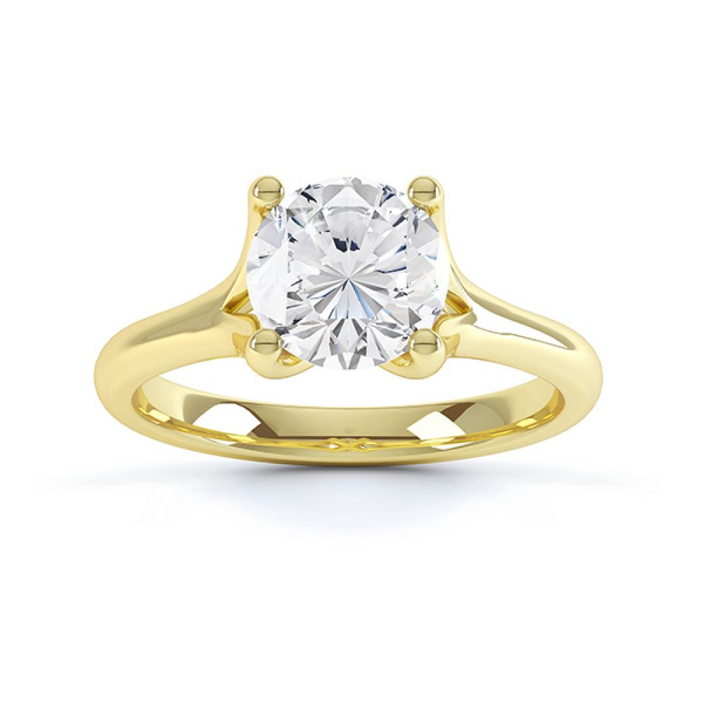 Top view of the Paris, split shoulder diamond solitaire engagement ring, yellow gold