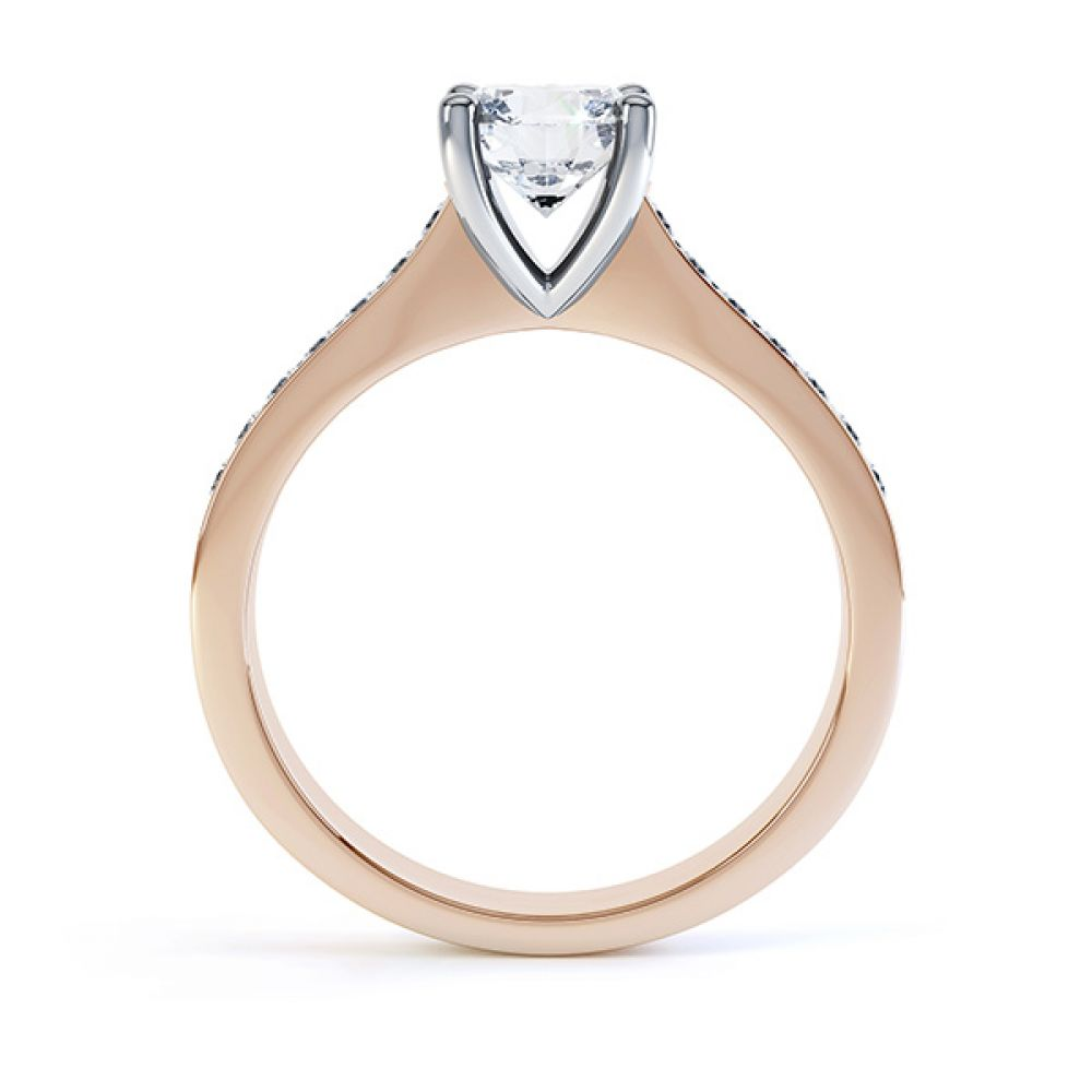 4 Claw Round Solitaire Diamond Shoulders yellow gold side view4 Claw Round Solitaire Diamond Shoulders rose gold side view