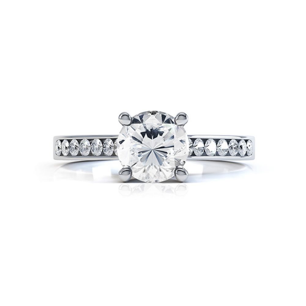 4 Claw Round Solitaire Diamond Shoulders yellow gold side view4 Claw Round Solitaire Diamond Shoulders white gold top view