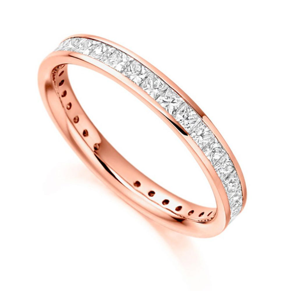 1.30cts Princess Cut Diamond Full Eternity Ring In Rose Gold