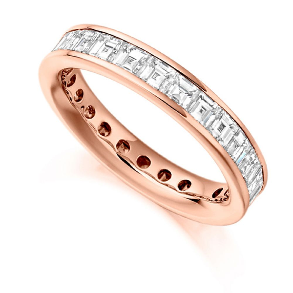 3 Carat Carré Cut Full Diamond Eternity Ring In Rose Gold