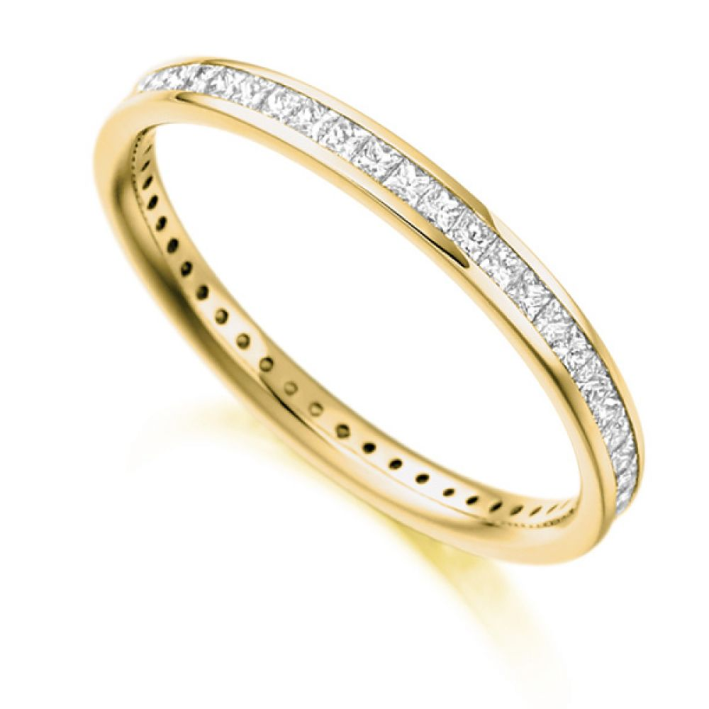 0.62cts Princess Diamond Full Eternity Ring In Yellow Gold