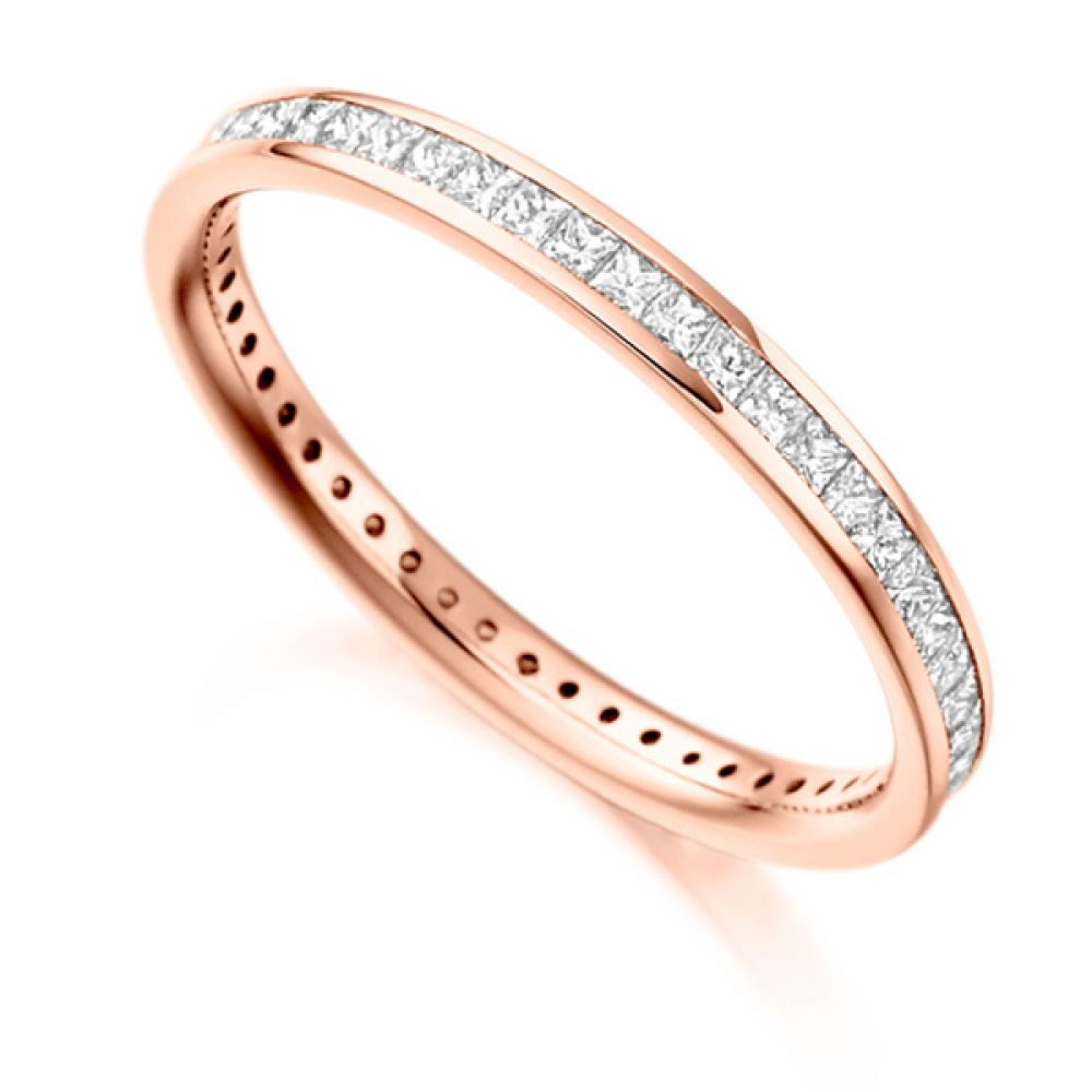 0.62cts Princess Diamond Full Eternity Ring In Rose Gold