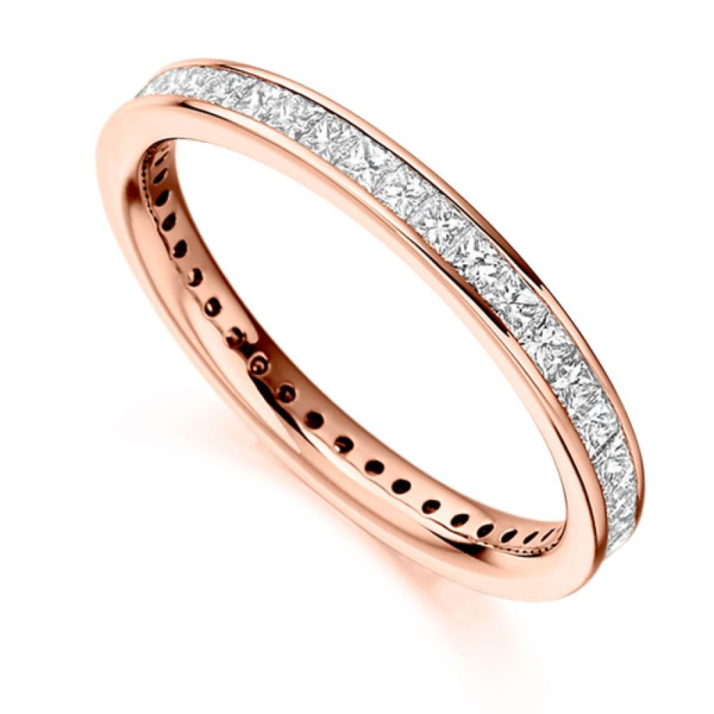 1 Carat Channel Set Princess Diamond Full Eternity Ring In Rose Gold