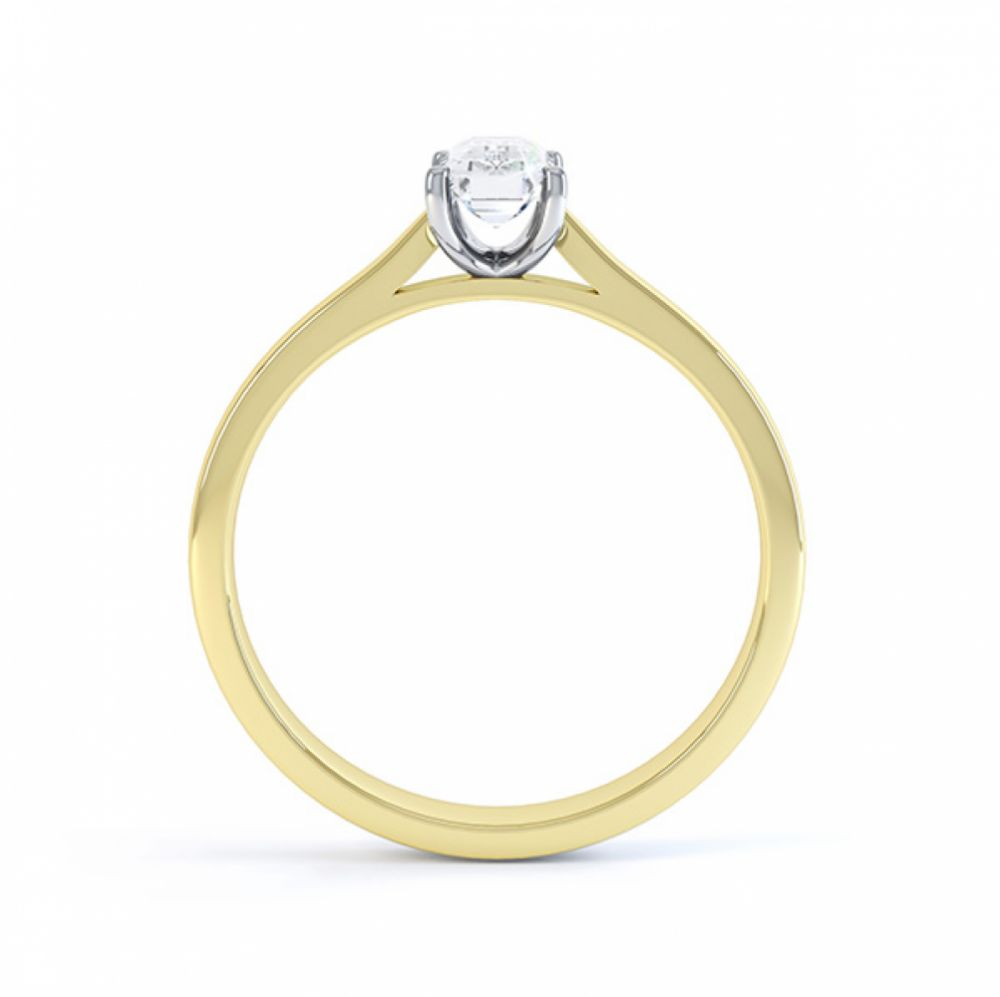 Yellow gold side view of the emerald cut diamond solitaire engagement ring finesse