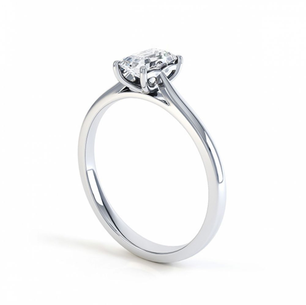 Another view of the single emerald cut diamond solitaire ring