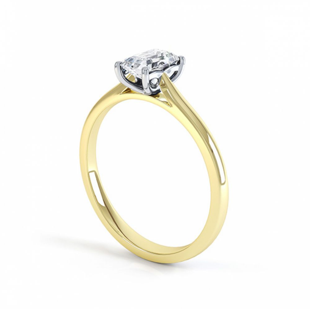 Another view of the single emerald cut diamond solitaire ring in yellow gold