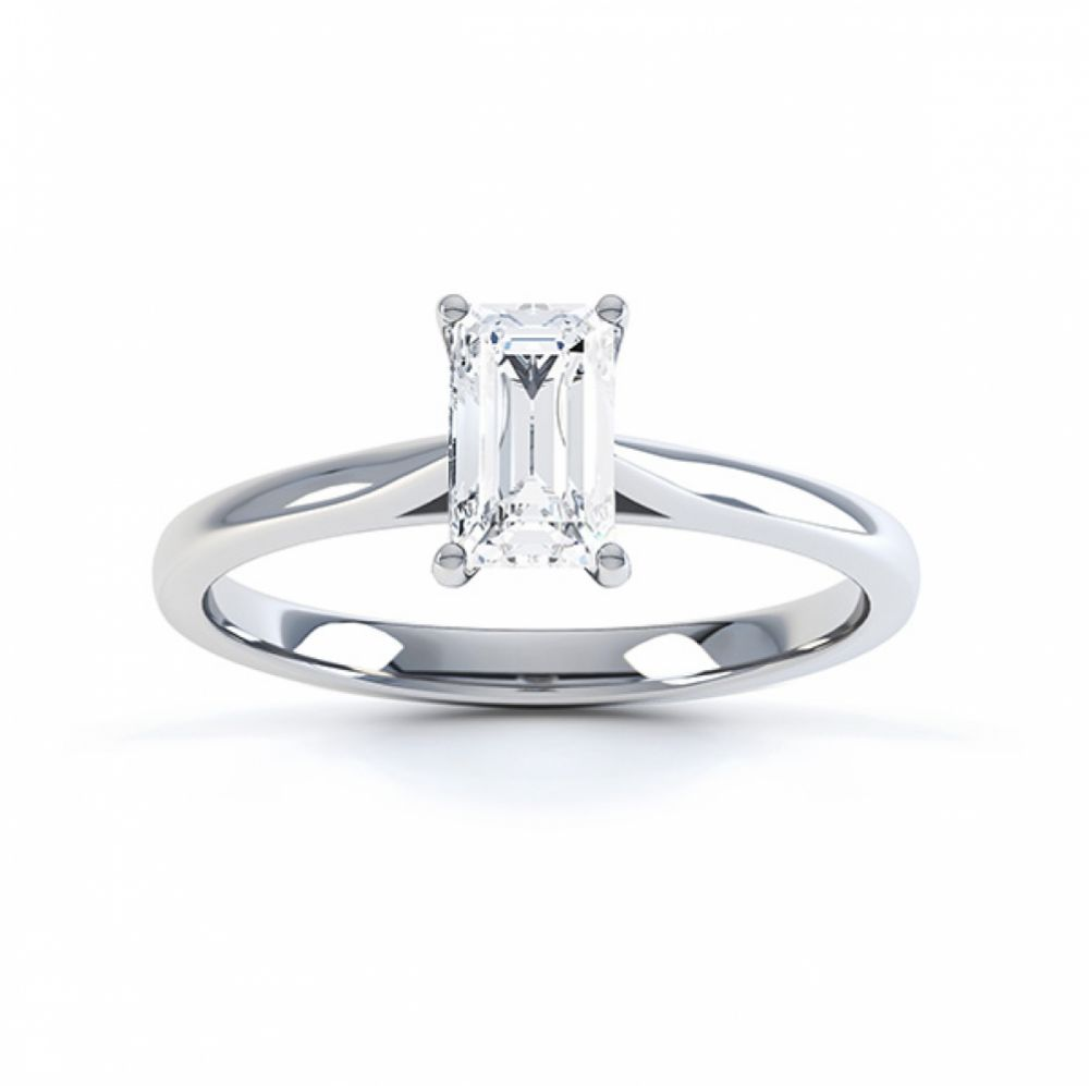 Top view of the diamond solitaire Finesse ring in Palladium
