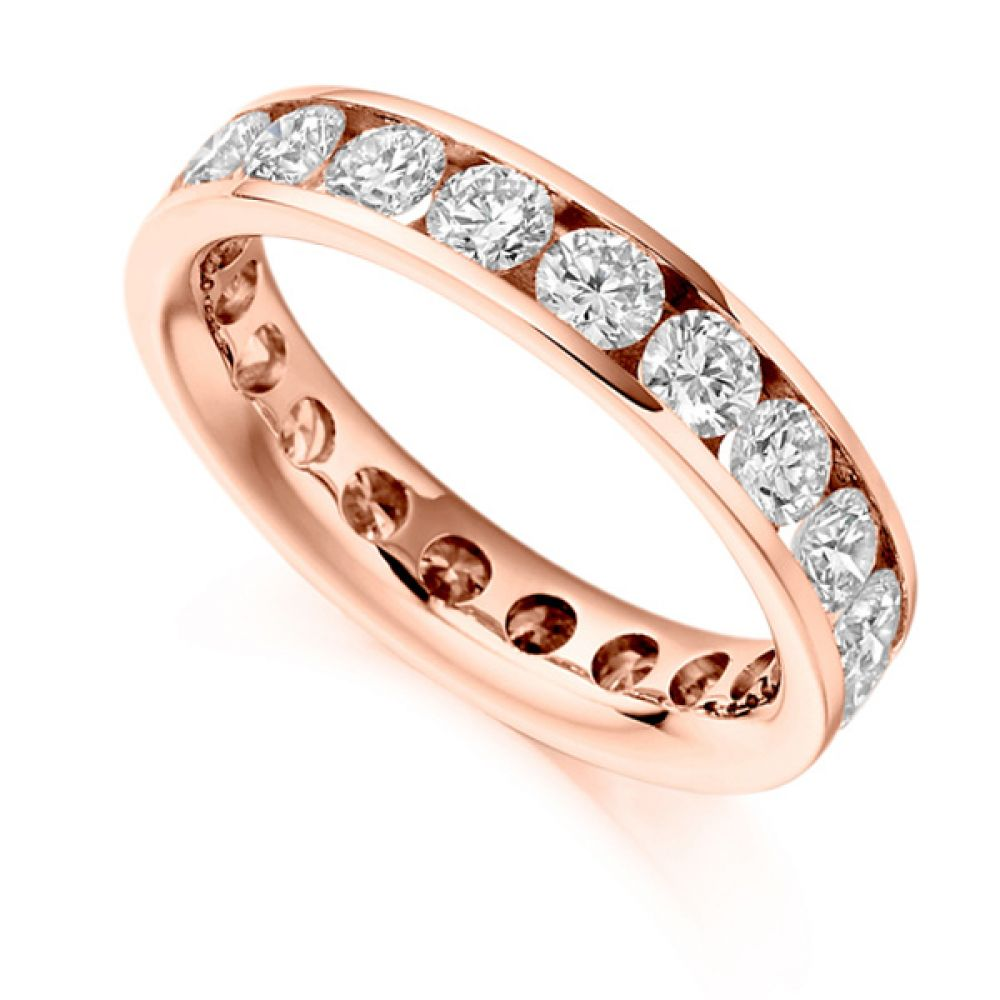 3 Carat Round Diamond Full Eternity Ring Channel Setting In Rose Gold