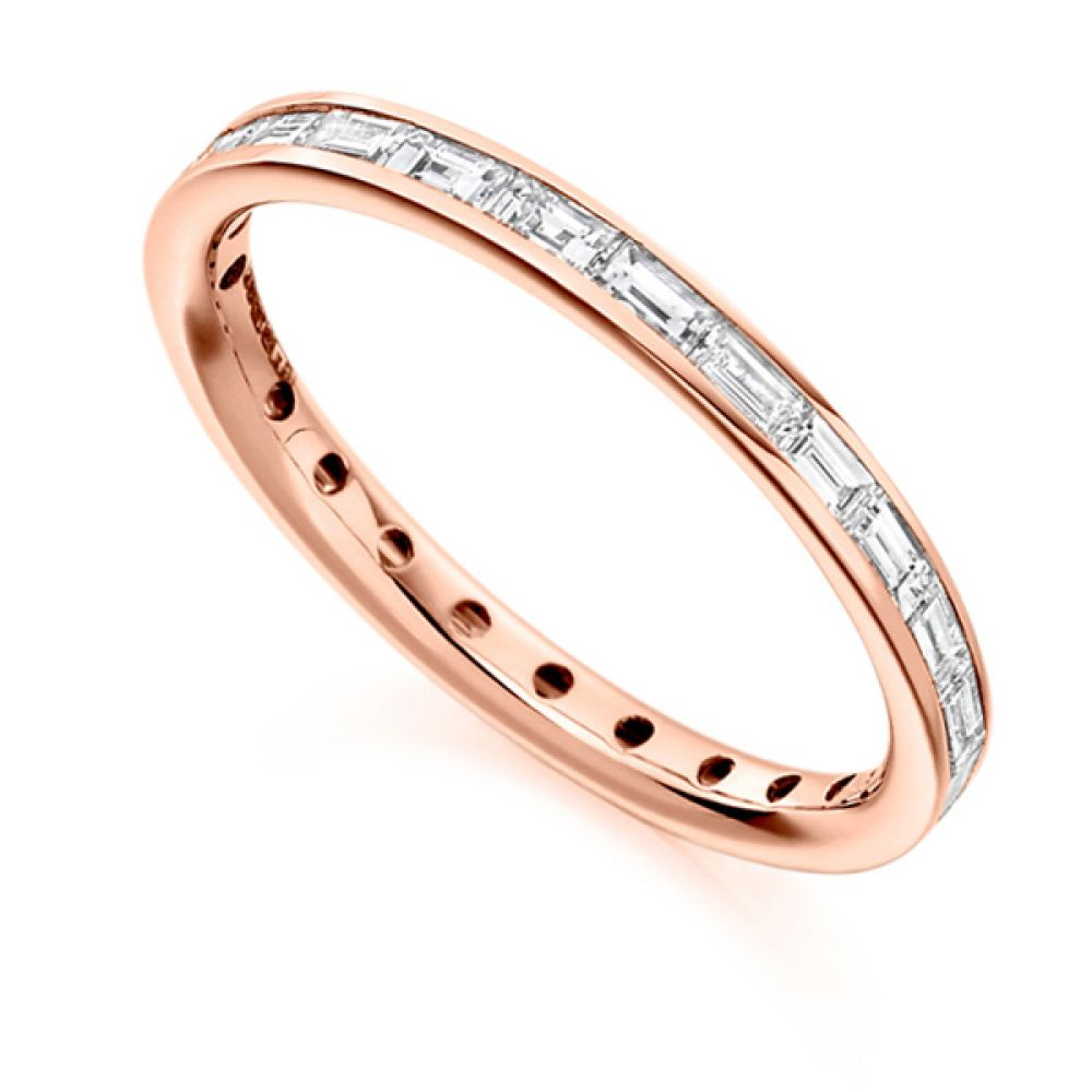 0.75cts Baguette Diamond Full Eternity Ring In Rose Gold