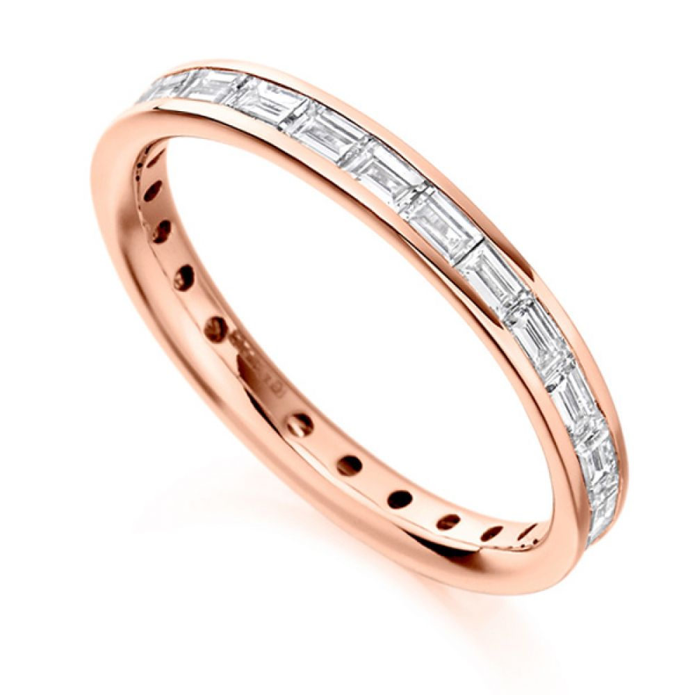 1.25cts Baguette Diamond Full Eternity Ring In Rose Gold