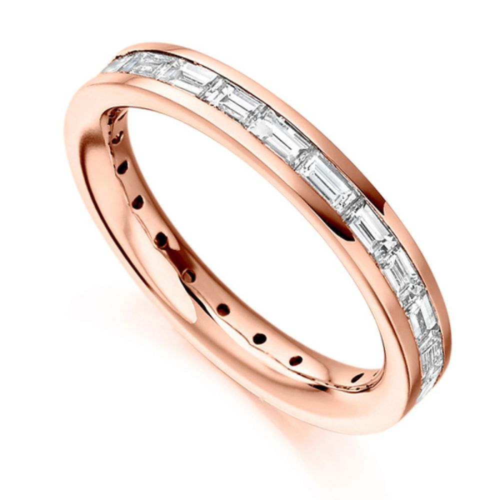 1.50cts Baguette Diamond Full Eternity Ring In Rose Gold