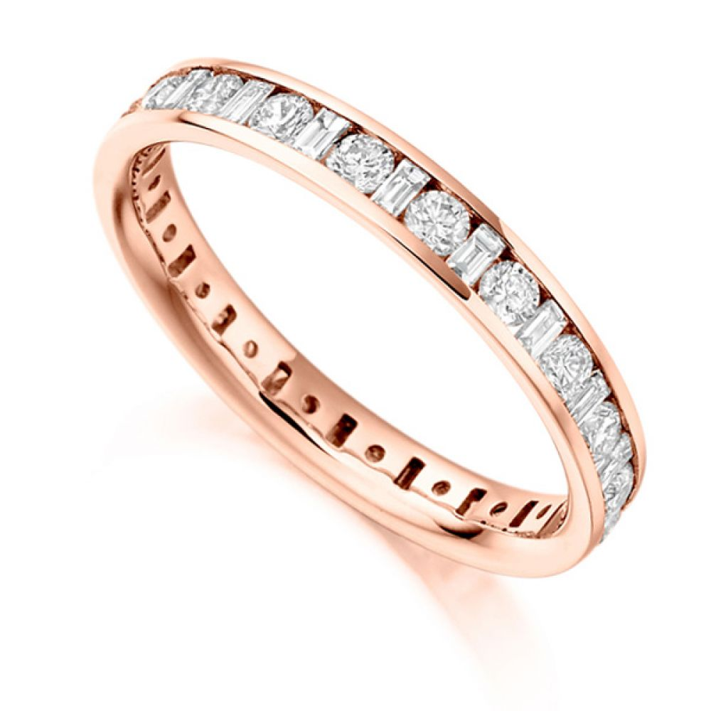 1.15ct Baguette and Round Diamond Full Eternity Ring In Rose Gold