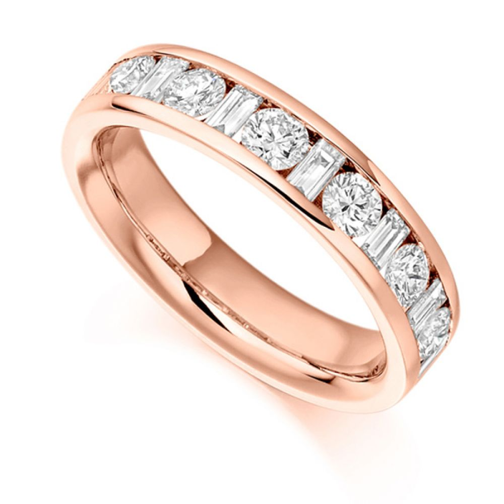 1 Carat Half Eternity Round & Baguette Diamonds In Rose Gold