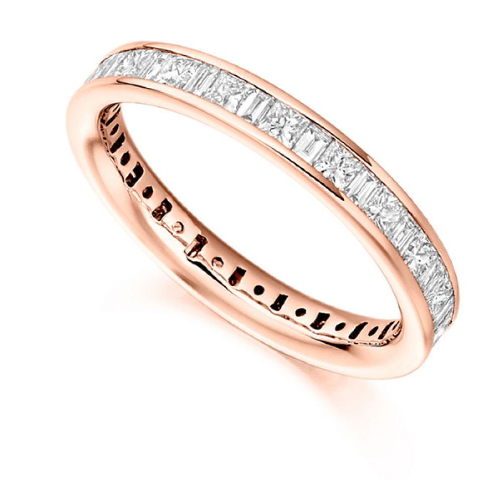 1.5 Carat Princess & Baguette Diamond Full Eternity Ring In Rose Gold