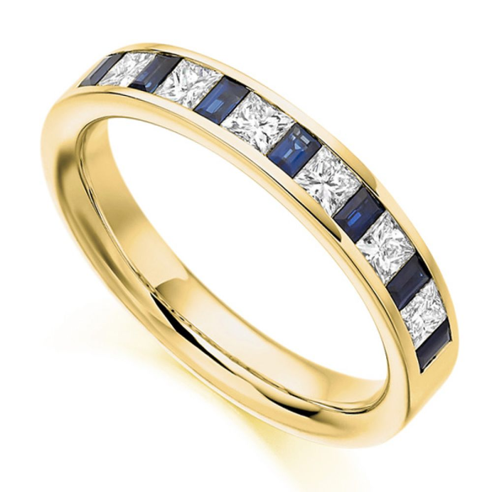 0.56ct Princess Diamond & Blue Sapphire Baguette Half Eternity Ring In Yellow Gold