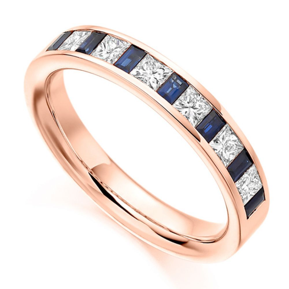 0.56ct Princess Diamond & Blue Sapphire Baguette Half Eternity Ring In Rose Gold