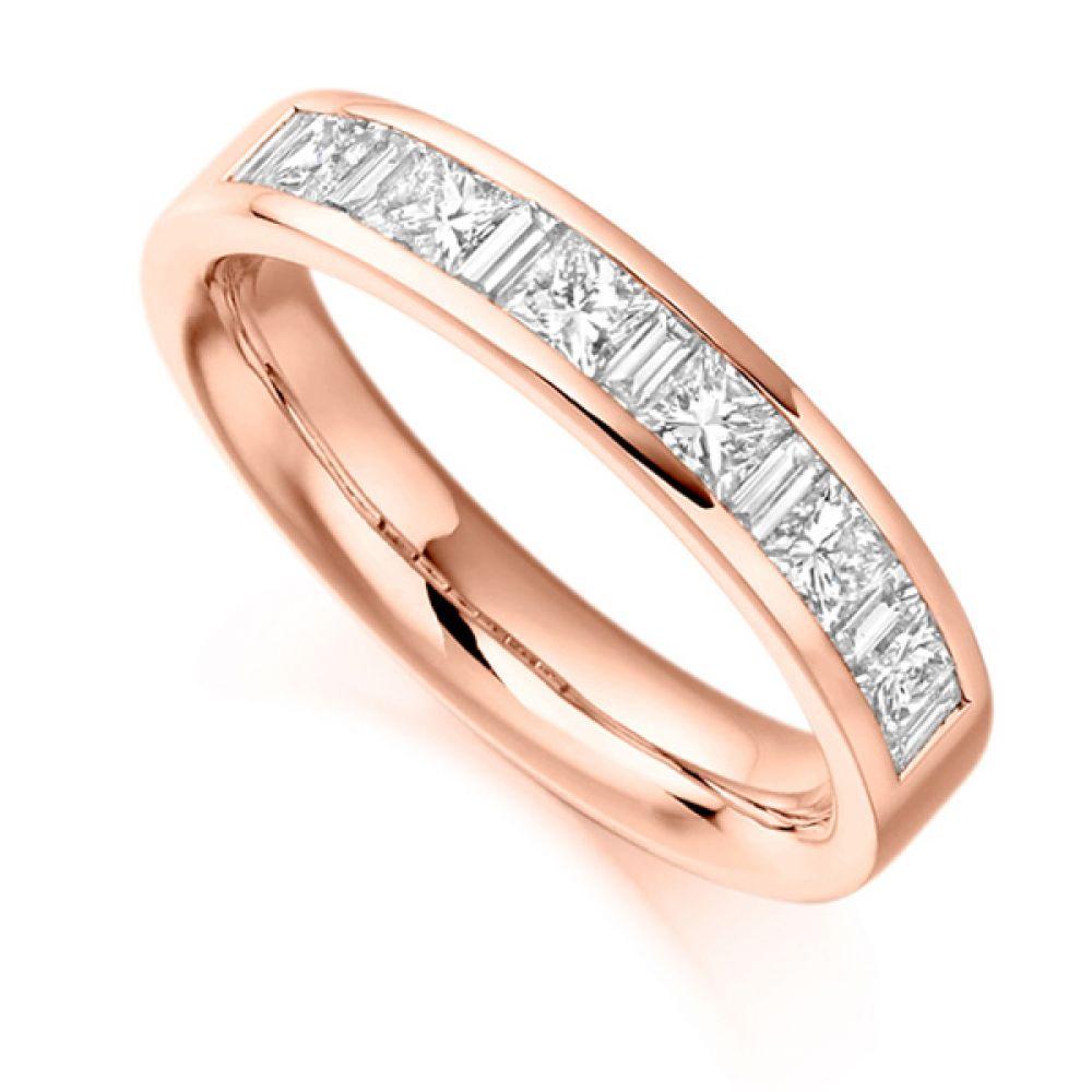 1 Carat Baguette & Princess Half Diamond Eternity Ring In Rose Gold