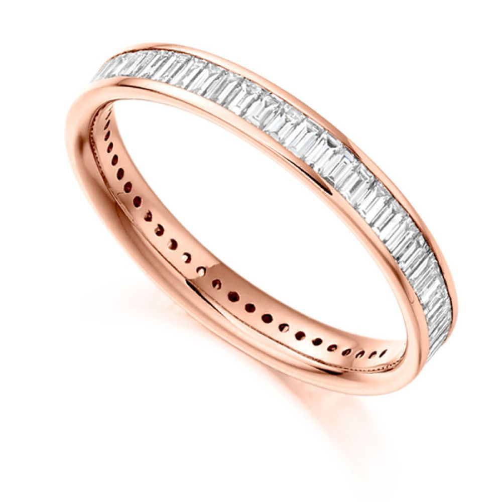 1.05cts Baguette Diamond Full Eternity Ring In Rose Gold