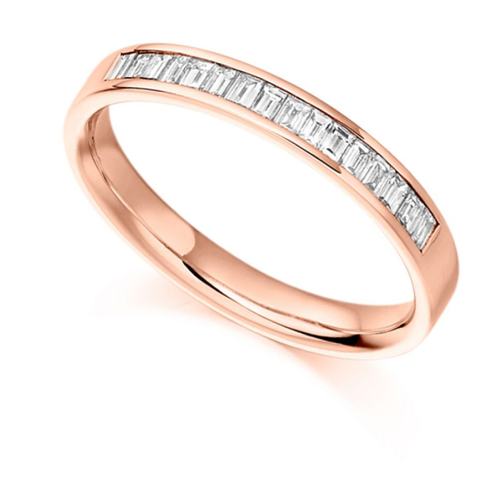 0.33cts Baguette Diamond Half Eternity Ring In Rose Gold