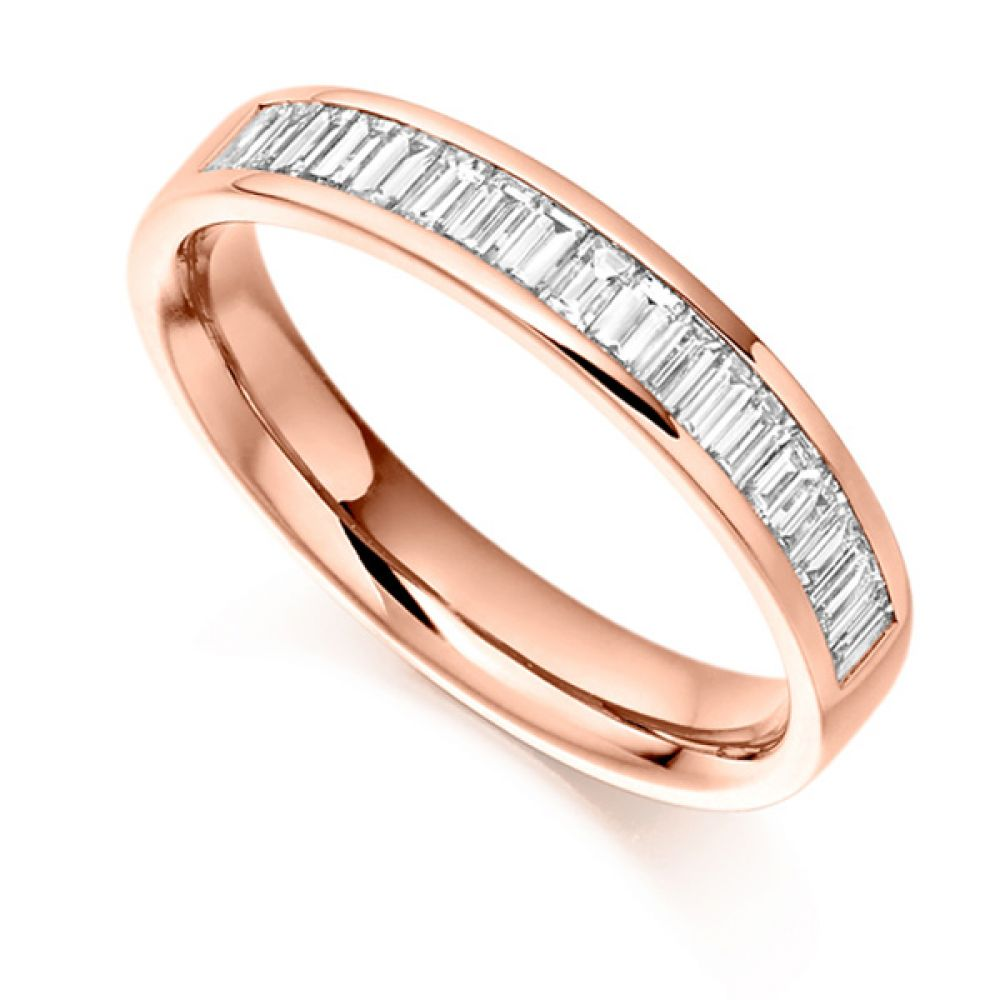 0.56cts Cross Set Baguette Half Diamond Eternity Ring In Rose Gold