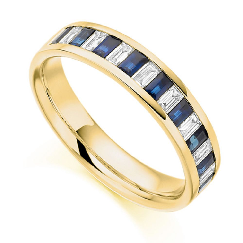 0.35cts Baguette Diamond Blue Sapphire Half Eternity Ring In Yellow Gold