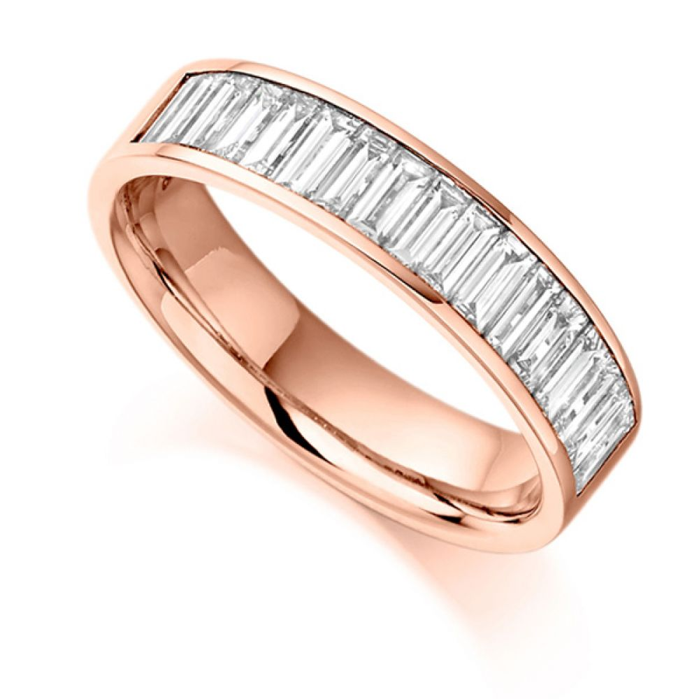 1 Carat Channel Set Baguette Half Eternity Ring In Rose Gold
