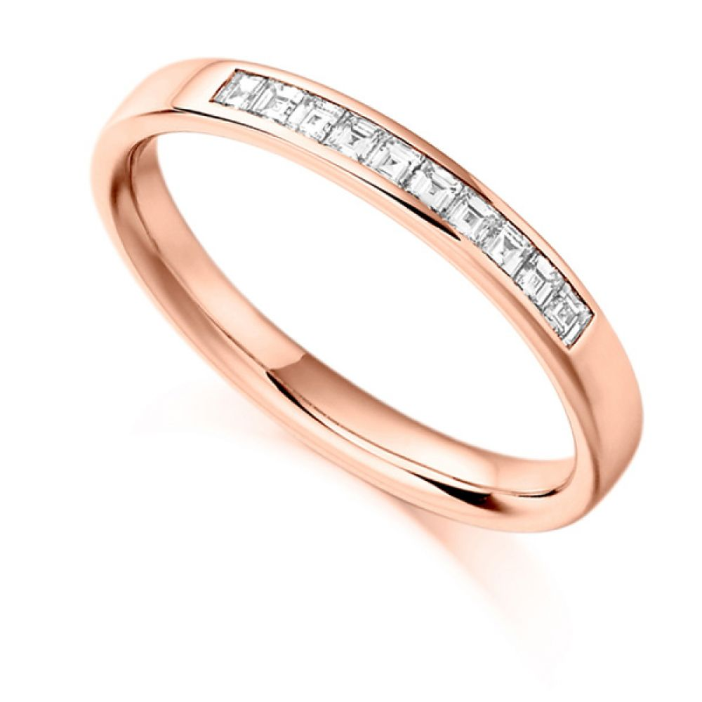 0.25cts Carré Cut Diamond Half Eternity Ring In Rose Gold