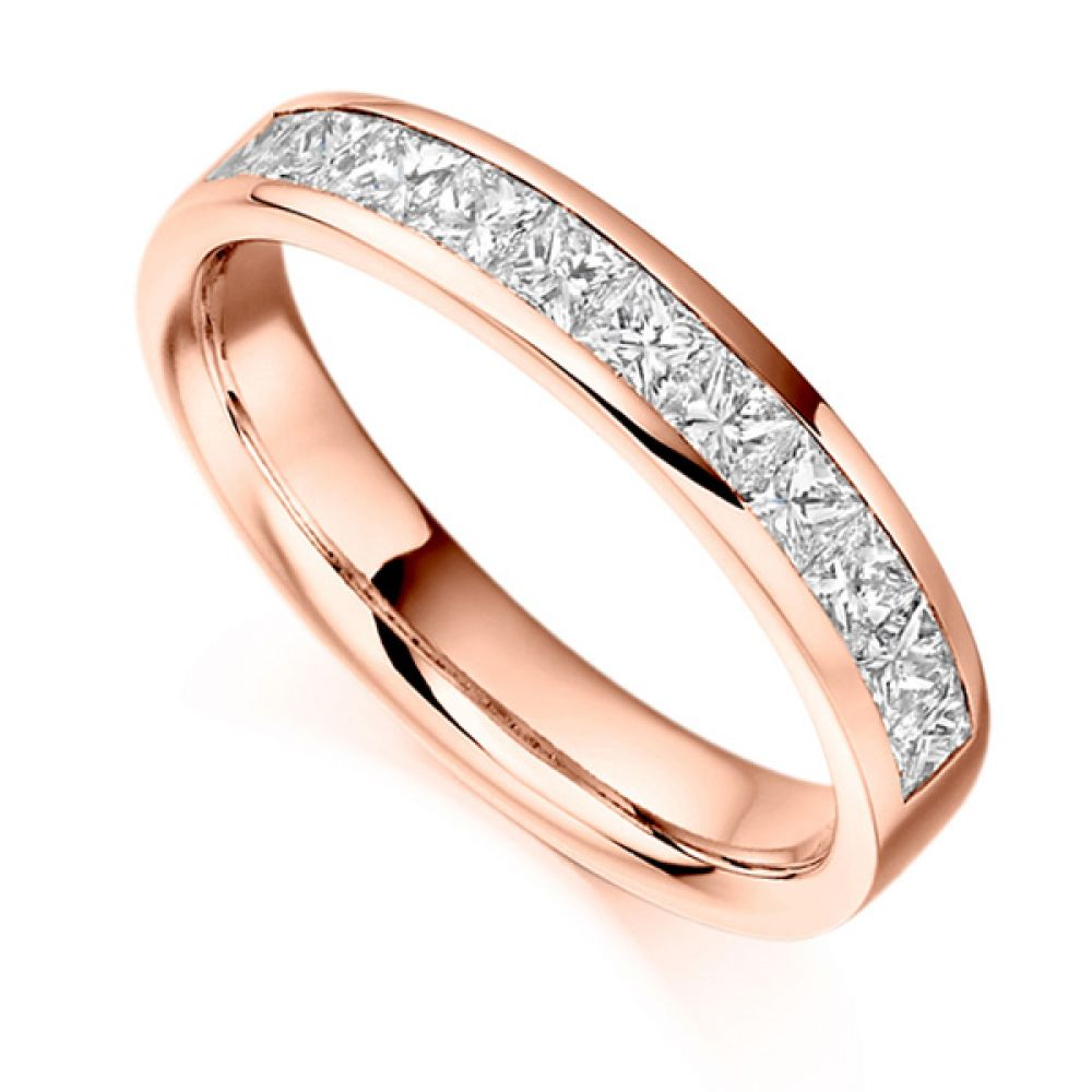 0.75ct Princess Cut Diamond Half Eternity Ring In Rose Gold