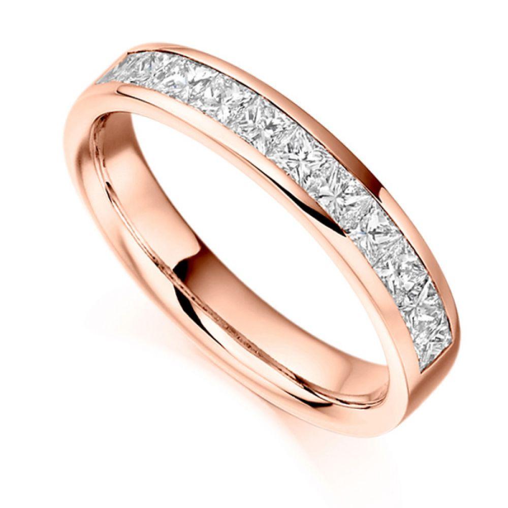 0.75ct Princess Cut Diamond Half Eternity Ring In Rose Gold