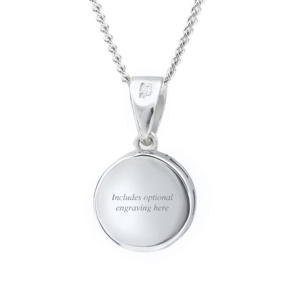 Something blue pendant, reverse, showing the polished back which can be engraved with a personal message or date