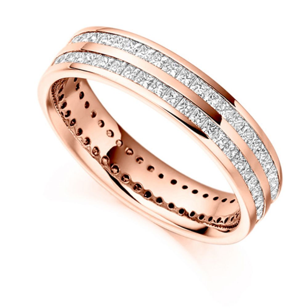 1.50cts Full Diamond Eternity Ring with Double Channel In Rose Gold