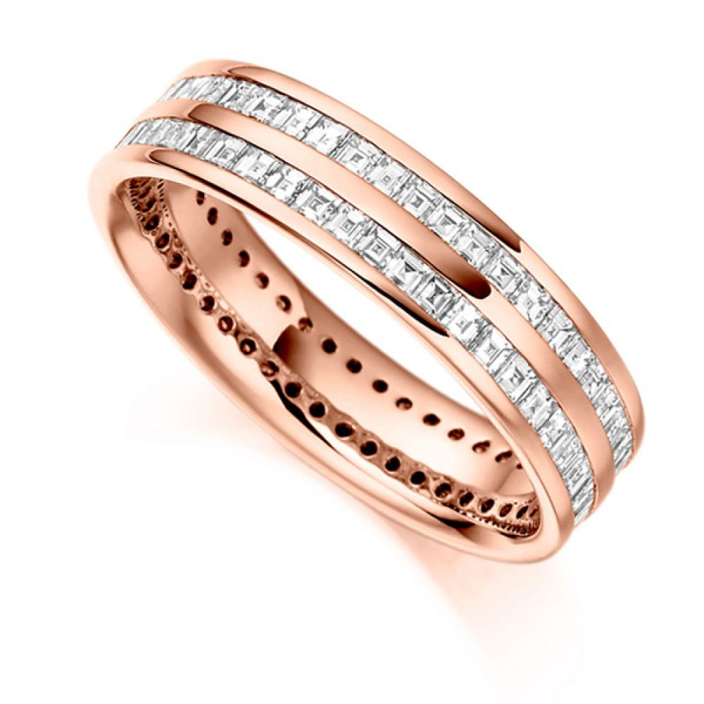1.5 ct 2 Row Carré Cut Full Diamond Eternity Ring In Rose Gold