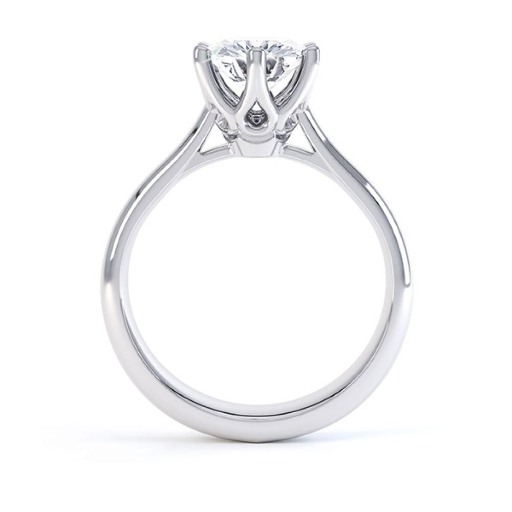 Hope 6 claw engagement ring side view platinum