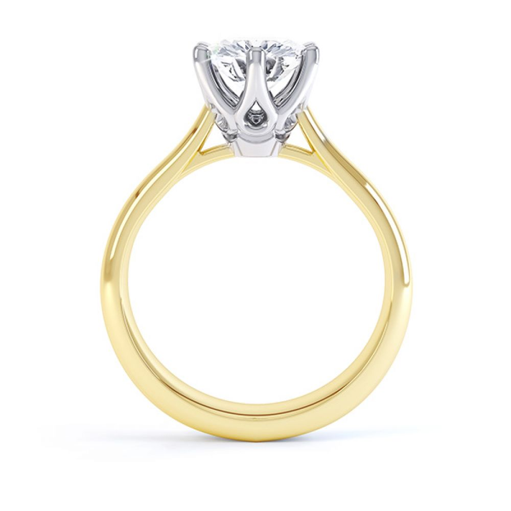 Hope 6 claw engagement ring side view yellow gold